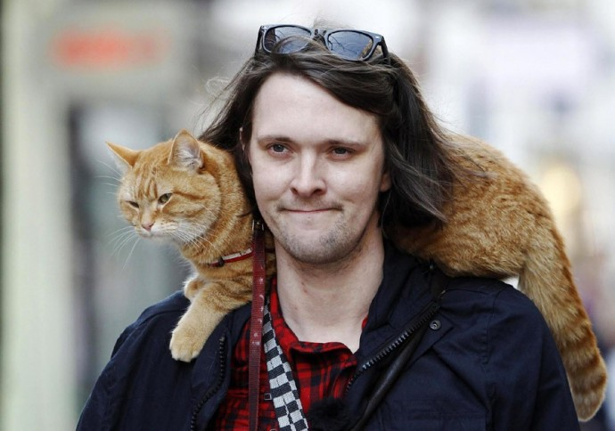 Музыкант и рыжий кот по кличке Боб