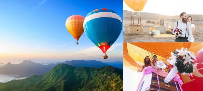 свадебная фотосессия на воздушном шаре