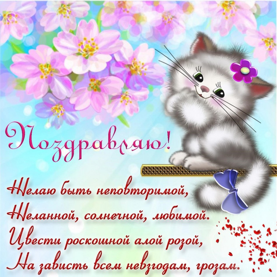 Котик поздравляет с Днем рождения на открытке